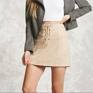 F21 Leather Tie-up Skirt